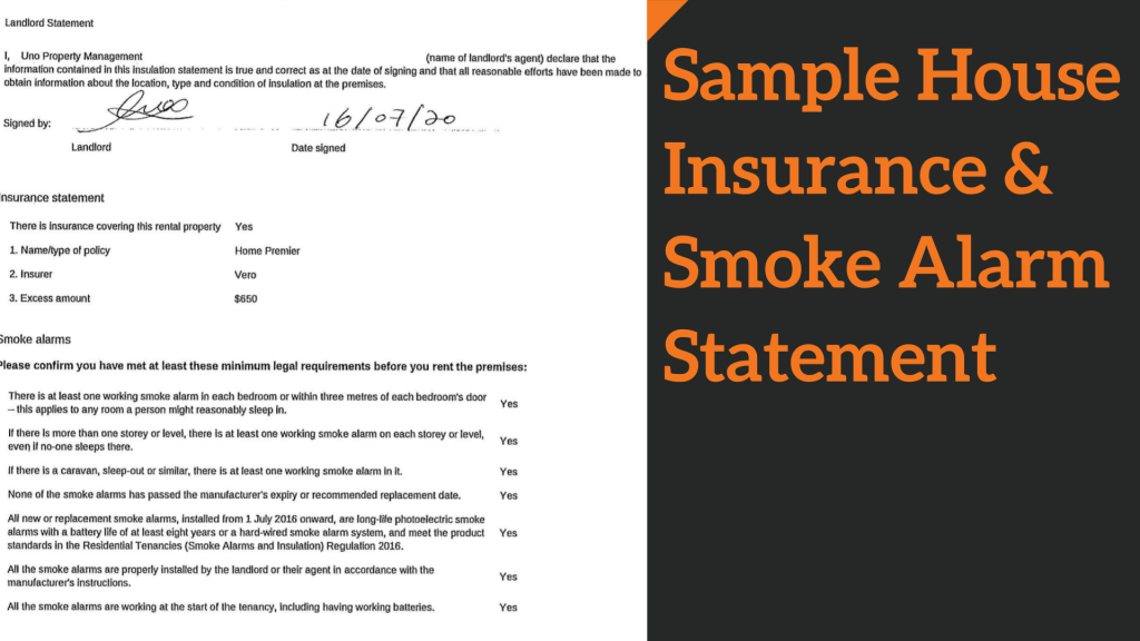 Sample House Insurance & Smoke Alarm Statements